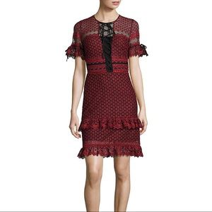 Parker Emilia Ruffled Lace Dress in Cranberry
